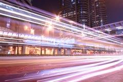 Dramatic and busy traffic in Hong Kong at night Stock Photo