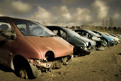 Dramatic cars for scrap. Group of dramatic cars for scrap Royalty Free Stock Photos