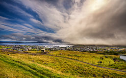Dramatic change of weather over Torshavn, Faroe Islands, Denmark Royalty Free Stock Photo