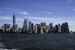Dramatic City scene in NEw York. On a boat royalty free stock image