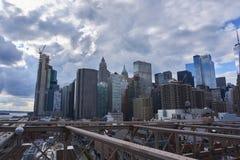 Dramatic City scene in NEw York. On the brooklyn bridge royalty free stock photography