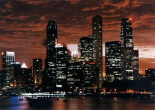 Dramatic City Skyline Sunset Singapore royalty free stock photography