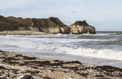 Dramatic cliffs at Thornwick Bay on the Flamborough Headland in Yorkshire, England. Stock Photography