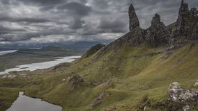 Dramatic cloud and brown Old man storr mountain, Scotland, 4k, timelapse stock footage