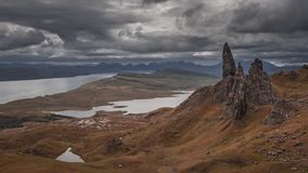 Dramatic cloud over brown Old man storr mountain, Scotland, 4k, timelapse stock video