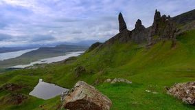 Dramatic cloud over Old man storr mountain, Scotland stock video footage