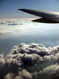 Dramatic Cloud pattern Airplane wing Royalty Free Stock Photo