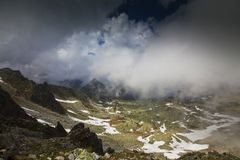 Dramatic cloud scenery in high mountains Royalty Free Stock Photography