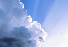Dramatic clouds. With sun rays Stock Photo