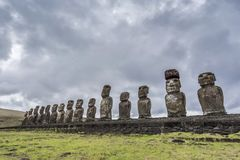The famous 15 moai of tongariki stock photography