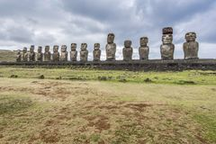 The famous 15 moais of ahu tongariki stock images