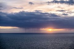 Dramatic clouds above the Atlantic between Wales and Ireland Stock Image