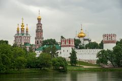 Dramatic Clouds above Novodevichy Convent, Moscow, Russia Stock Images