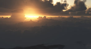 Dramatic Clouds from Above at Sunset Stock Photo
