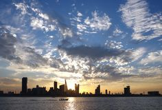 Dramatic  clouds and Bahrain skyline Stock Photography