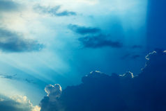 Dramatic clouds and a blue sky. Royalty Free Stock Photo
