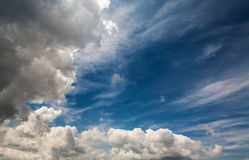 Dramatic clouds with blue sky stock photography