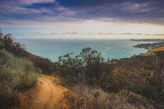 Corral Canyon Malibu Trail. Dramatic clouds and coastline view of the Pacific Ocean from the Corral Canyon trail in Malibu, California Royalty Free Stock Photography