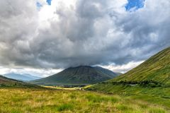 Dramatic clouds. Over Beinn Dorain in Scotland stock image