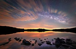 Dramatic Clouds and The Milky Way Stock Images
