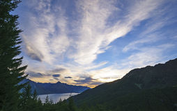 Dramatic Clouds in a Mountain Sunset Stock Image