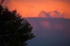 Tree and dramatic clouds emerging from horizon. Dramatic clouds on mountains royalty free stock photography