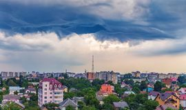 Dramatic clouds over the city. Of Ivano-Frankivsk, Ukraine Royalty Free Stock Photography