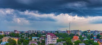 Dramatic clouds over the city. Of Ivano-Frankivsk, Ukraine Stock Image