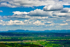 Dramatic clouds over green valley. Aerial view of countryside of Samobor region, Croatia Royalty Free Stock Images