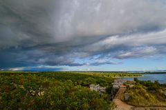 Dramatic clouds over the landscape of croatia with rain in the distance. Dramatic clouds over the landscape of croatia in an old fort with rain in the distance Royalty Free Stock Photography