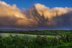 Dramatic clouds over mount st michael at Cornwall Royalty Free Stock Photos