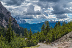 Dramatic clouds over mountain Peitlerkofel in south tyrol, Italy Royalty Free Stock Images