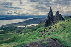 Dramatic clouds over Old Man of Storr in Isle of Skye, Scotland Royalty Free Stock Photos
