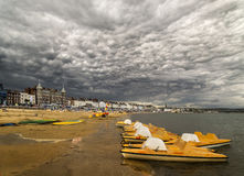 Dramatic clouds over Weymouth beaches Stock Image