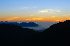 Dramatic Clouds rolling over mountains at sunrise-Hehuan shan/ Joy mountain Stock Images