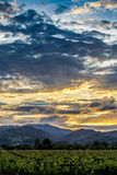 Dramatic clouds at sunset above Napa Valley vineyards Stock Photo