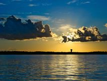 Dramatic clouds and sunset over lake in Bemidji Minnesota. Dramatic clouds and sunset over Lake Irving in Bemidji Minnesota stock image