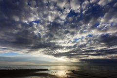 Dramatic clouds at a tropical beach in Sabah, Borneo Royalty Free Stock Photo