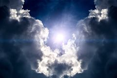 Cloudscape with a Sunlight. Dramatic Cloudscape Background with Sun and Sky Stock Images