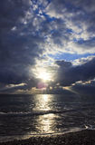 Dramatic cloudscape over sea Stock Images