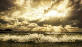 Dramatic cloudscape over the sea with toned warm colors Royalty Free Stock Photography