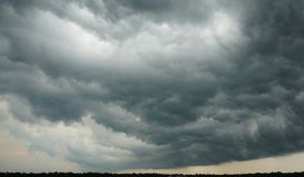 Dramatic Cloudscape - Overhanging Dark Cloud forming a Rainstorm royalty free stock photography