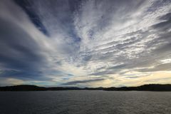 A cloudy sky just before hurricane force winds blew in royalty free stock photography