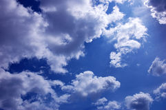 Dramatic cloudy sky. Dramatic blue cloudy sky scene Royalty Free Stock Images