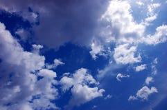 Dramatic cloudy sky. Dramatic blue cloudy sky scene Stock Image
