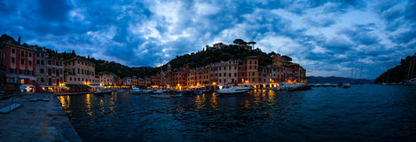 Dramatic cloudy sky over the city of Portofino Royalty Free Stock Photography