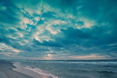 Dramatic cloudy sky over sea Stock Image
