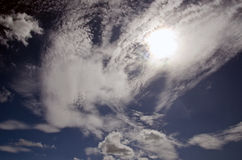Dramatic cloudy sky on sunny day Royalty Free Stock Image