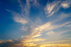Dramatic cloudy sky in twilight time Stock Photos
