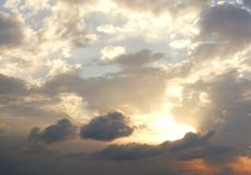 Dramatic cloudy summer sky. Background Royalty Free Stock Images